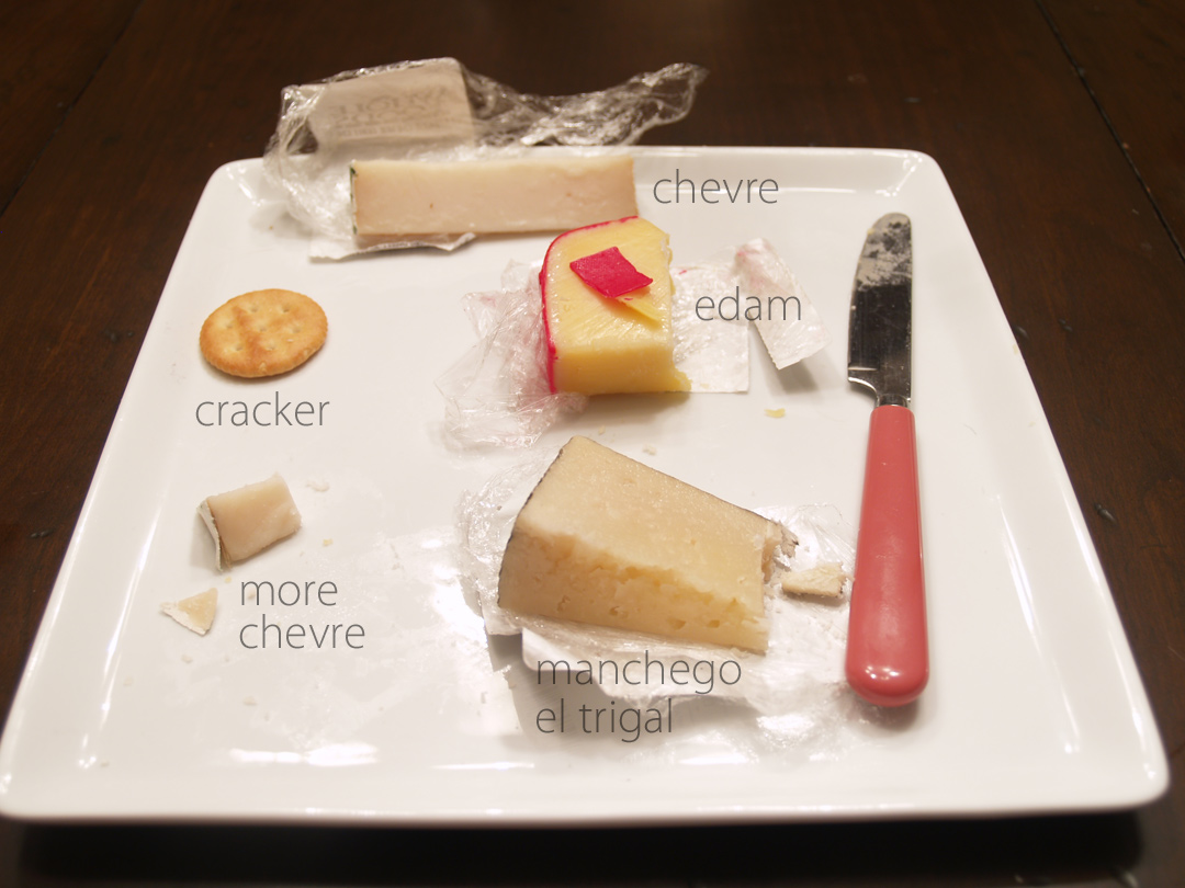 Cheese Tasting: Chevre, Manchego El Trigal, Edam