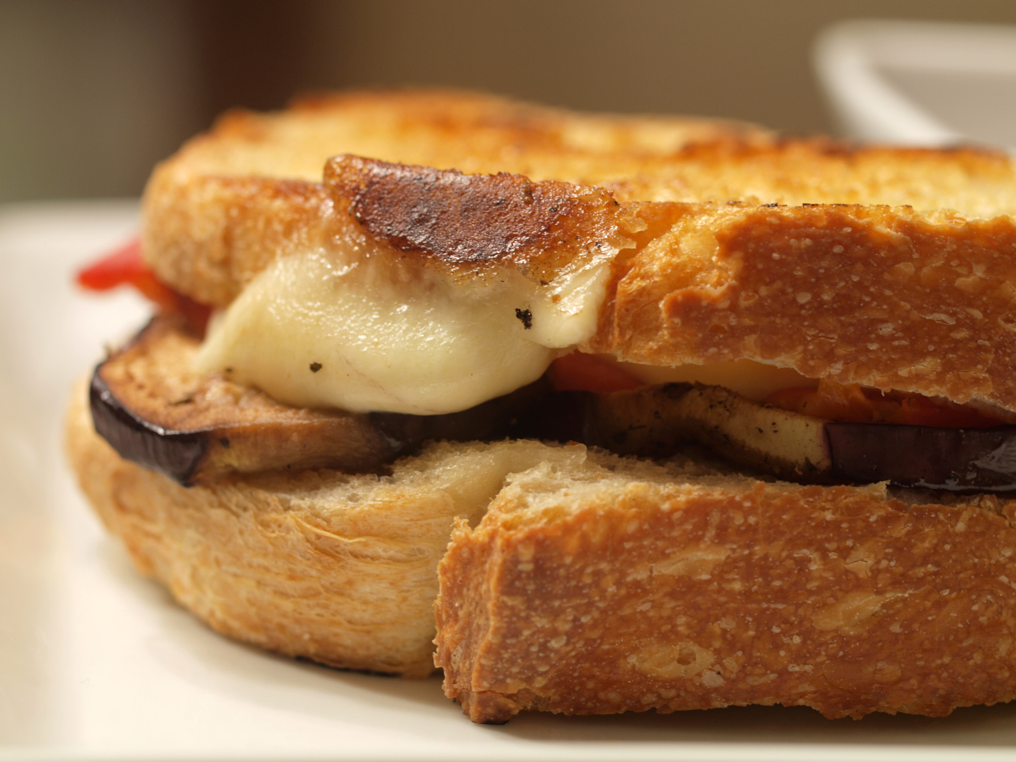 Eggplant & Roasted Red Pepper Grilled Cheese