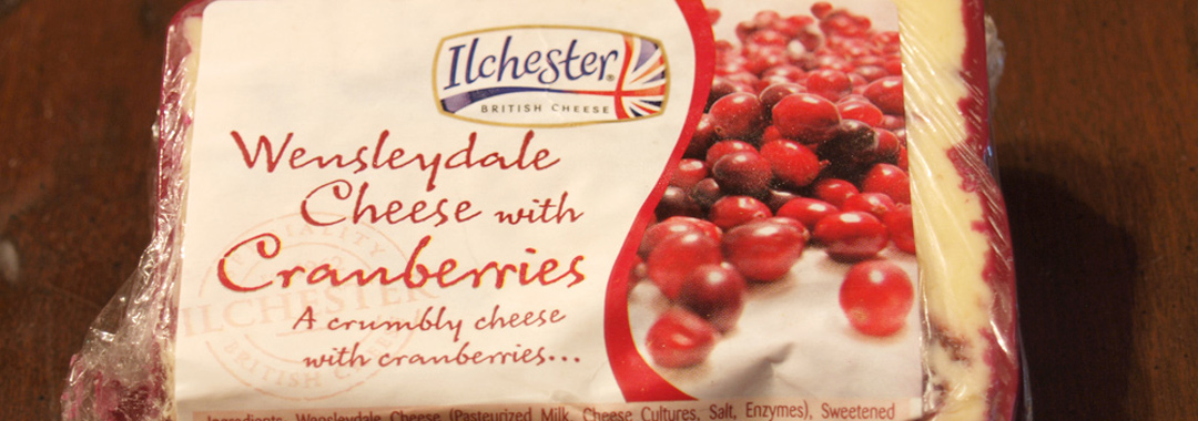 Cranberry Cheese Grilled Cheese: Ilchester Wensleydale Cheese with Cranberries