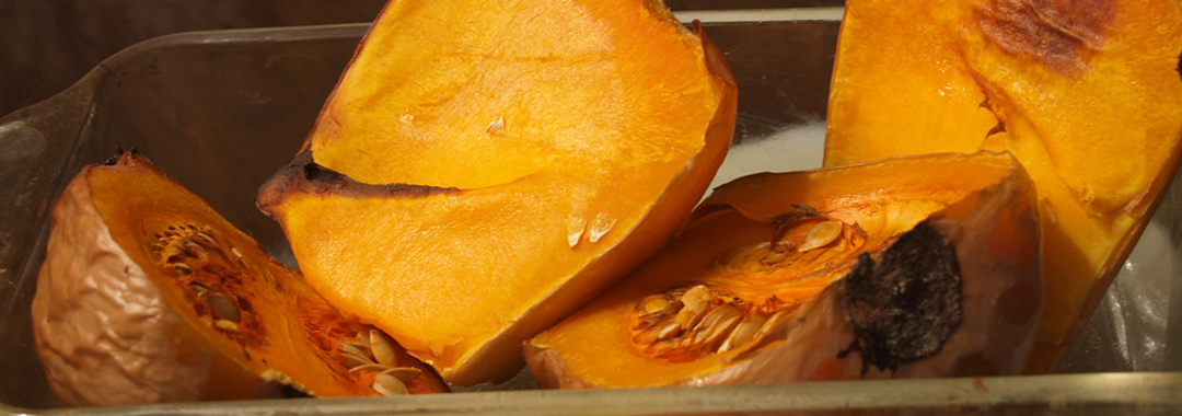 Butternut Squash & Pumpkin Bread Grilled Cheese: Baked Butternut Squash Ready for Spicing
