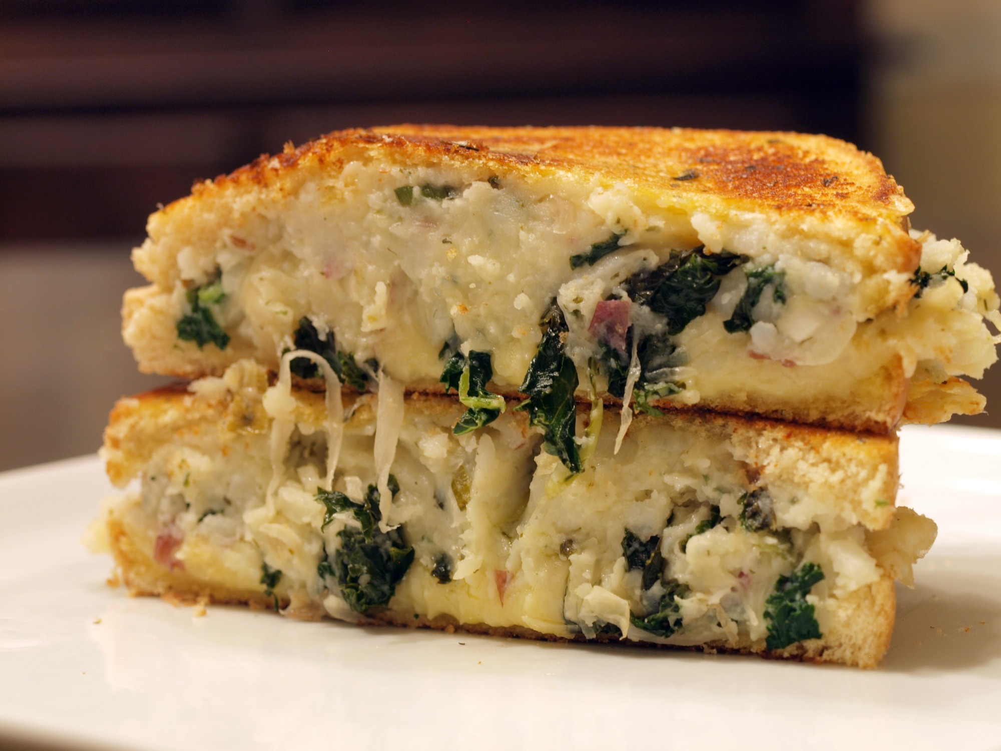 St. Patricks Day Kale & Potato Grilled Cheese