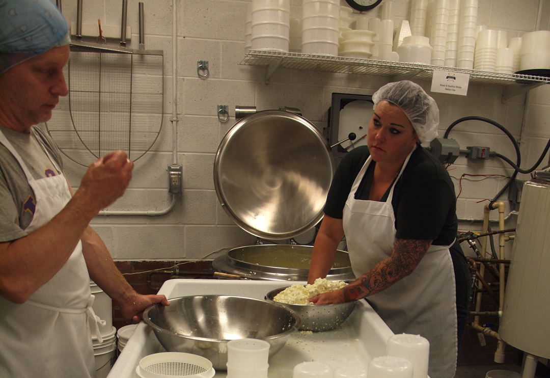 My Visit to Lake Erie Creamery: Draining Curds
