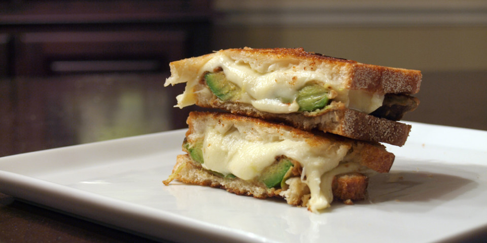 Fried Avocado & Fresh Mozzarella Grilled Cheese